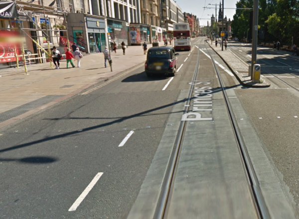 Tram tracks on Princes Street
