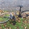 Pavel Rasek's damaged bike in 2 pieces