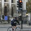 Cyclist and red traffic light