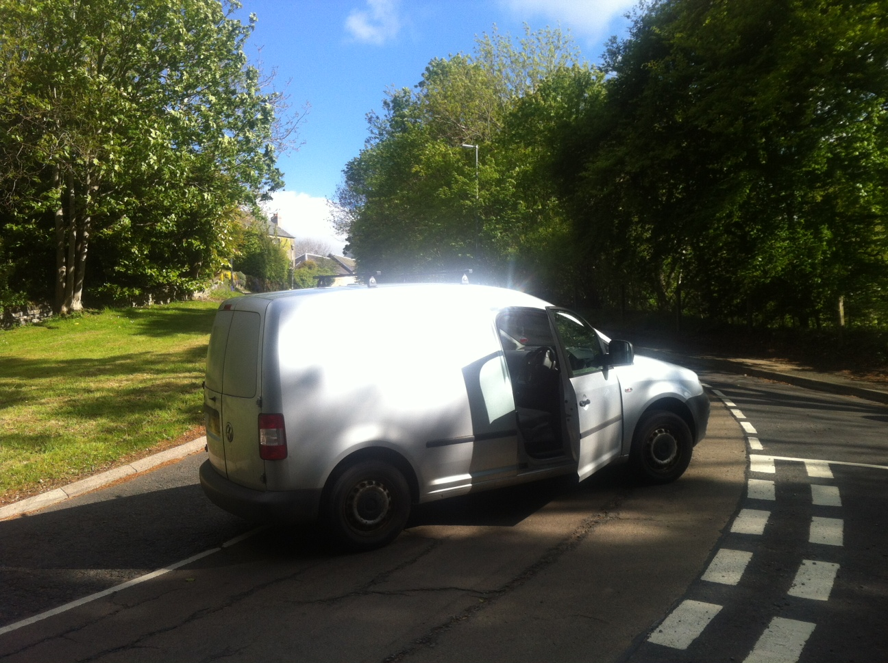 Van position following the collision
