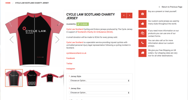 Cycle Law Scotland charity cycling jerseys