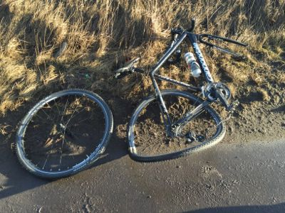 Damaged bike and wheel