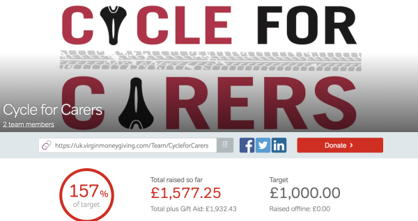 Cycle for Carers Donation Total